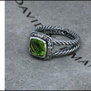 🌼DAVID YURMAN Silver Peridot Albion Diamond Ring